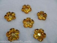 12mm Acrylic Rhinestone Flowers Amber Yellow x 20