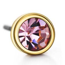 16k Yellow Gold plated Purple Austrian Crystals Diamond Simulant Stud Earrings