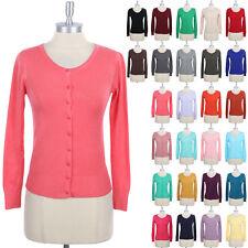 PLAIN CARDIGAN Cotton Button Down Knit Long Sleeve Comfortable Rayon S M L
