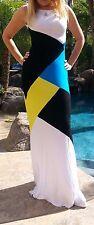 Maya Antonia-Blue-Yellow-Black-White Color-Block Maxi Dress,Extra Long