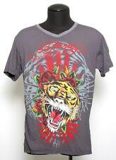 Men's Ed Hardy Christian Audigier GRAY TIGER JAPAN V_NECK T-Shirt M-XL