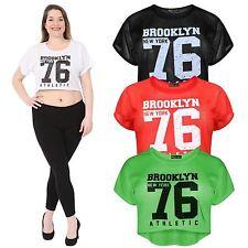 Ladies Neon Colored Air Tech Brookyln Newyork 76 Number Print Baseball Crop Tops