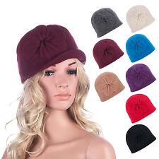 Womens GATSBY 1920s Winter Warm Wool Cap Beret Beanie Bucket Floral Hat A289