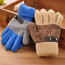 Boys Children Warm Knitted Gloves Winter Thick Full Mitten Finger Protector Pops