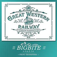 Shabby Chic STENCIL: Great Western Railway Advert (DIY Furniture Print) #074