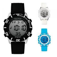 Mens Watch NAUTICA NSR-100 Digital Chrono Alarm Silicone Black White DD