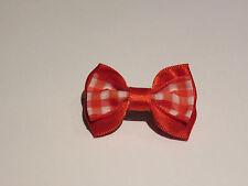 Petit noeud papillon cheveux barrette élastique chouchou pince vichy rouge