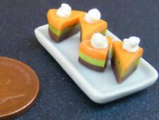 1:12 scala vassoio in ceramica di 4 Arancione layer TORTA FETTE DOLL HOUSE miniatura PL74