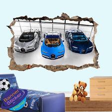 BUGATTI SPORT CARS  ART 3D SMASHED WALL STICKER ART ROOM DECOR DECAL MURAL ZU2