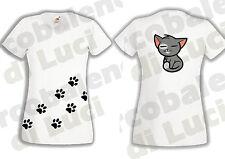 T-SHIRT DONNA GATTO SULLA SCHIENA + IMPRONTE ZAMPINE MAGLIETTA SPIRITOSA CAT !