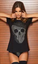 Totenkopf T-Shirt Top Shirt Body Damen Rundhalsshirt mit Strass Steinen Skull