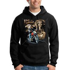 Live The Legend Eagle Wolf Biker Motorcycle Chopper Hooded Sweatshirt Hoodie