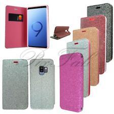 Nuevo Purpurina Cartera Plegable de Cuero Funda para Teléfono Samsung Galaxy S9