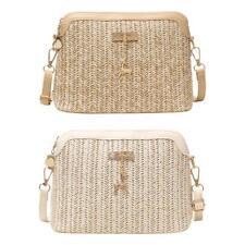 Fashion Straw Women Crossbody Bag Boho Beach Shoulder Messenger Zip Handbag