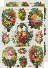 Chromo EF Découpis Bouquet Fleurs 7345 Embossed Illustrations Flowers