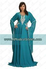 DUBAI ABAYA FANCY KAFTAN Hijab Muslim Islamic Wedding Dress *USA SELLER* MD0537