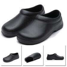Mens Chef Kitchen Cook Shoes Restaurant Safety Oil Resistant Non-Slip Black Flat