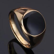 Siegelring Herrenring Onyx schwarz 750er Gold 18 Karat vergoldet rosegold R2840