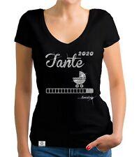 Damen T-Shirt V-Ausschnitt - Tante 2020 loading -  Geburt Baby Nichte Neffe Kind