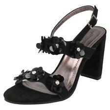 Ladies Black Suedette Floral Anne Michelle Heeled Sandals Party Occasion F1R0780