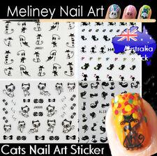Cats kitty Kitten Black Nail Art Stickers Animal Decorations Craft Supplies cute