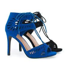 Picca Peep Toe Cut Out Design Corset Lace Up Stiletto Dress Sandals