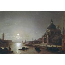 Vista di luna del Grand Canal-H pether Print