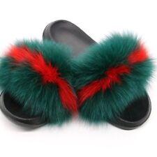 Women Fox Fur Slippers Real Fox hair Slides Female New