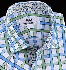 Green Blue Luxury Twill Egyptian Cotton Formal Business Dress Shirt Flowers Top