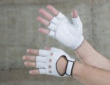 Retro Fahrrad Handschuhe Leder halbfinger weiß, cycle gloves, perforiert