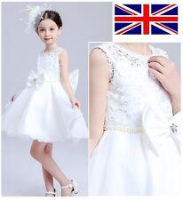 UK Stock White Flower Girls Lace Bridesmaids Dress Formal Prom 3-9 Years XK04
