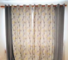 Quality Room Darkening Fine Jacquard Fabric Eyelet Curtains Flower 210 x 250 cm
