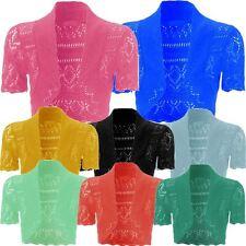 Femmes Tricot Jabot Grande Taille Crochet Résille Bolero Gilets Haut 8-20