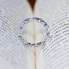 925 Sterling Silver Blue Sapphire Cubic Zirconia CZ Women Eternity Band Wedding