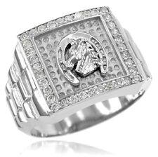 New White Gold Watchband Design Men's Horseshoe CZ Ring
