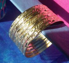 Cut Gold Layered Semanario Bangles Bracelets Oro Laminado 7 3.5mm #A1