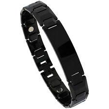 Tungsten Carbide Black Magnetic ID Bracelet