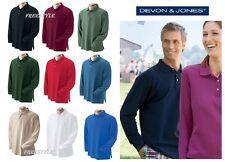 Devon & Jones Men's Pima Piqué Long-Sleeve Polo Shirt  D110 S-4XL