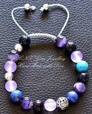 Chakra Gem Crystal Beads Bracelet Silver Amethyst Lapis Blue Sandstone Turquoise