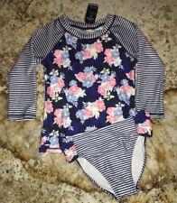 NAUTICA Floral Stripe RashGuard Navy Blue Pink White 2 pc Swim Suit GIRLS 10