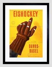 AD partido de hockey sobre hielo Basilea Davos Sport guante Suiza enmarcado impresión B12X3151