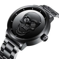 New BIDEN Men's Watches Quartz Skull 30m Water Resistant Stainless Steel Band