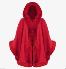 Ladies Faux Fur Trim Hooded Poncho Cape Womens Wrap Shawl Cardigan Warm Coat