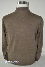 MAGLIA UOMO lana merino collo lupetto 46 48 50 52 54 56 58 60 marrone ITALIA