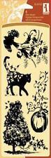 Inkadinkado Clear Stamps FALL FIELDS Autumn Pumpkin Tree Cat Birds