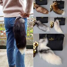 Charm Cross Fox Tail Keychain Fur Tassel Bag Car Key Pendant Decor Cosplay