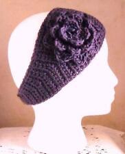 Deep Purple Adult Handmade Acrylic Crochet Flower Headband