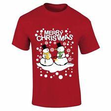Mens Boys Merry Christmas Snow Fall Effect Designer Top Printed Tee T Shirt Lot