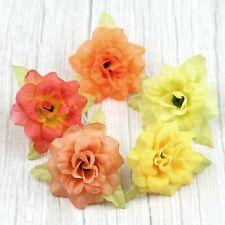 "Bulk 2"" Artificial Silk Small Rose Flowers Heads 30Pcs-Yellow&Orange"