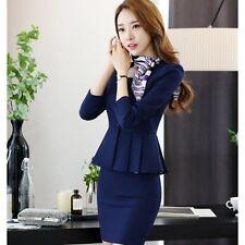 Elegante Tailleur completo donna blu notte maglia giacca manica lunga gonna 9013